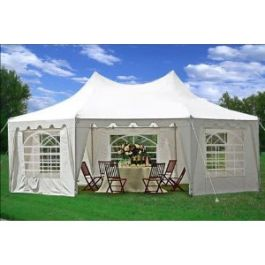 29'x21' Octagonal Wedding Party Tent Canopy Gazebo Heavy Duty Water Resistant White